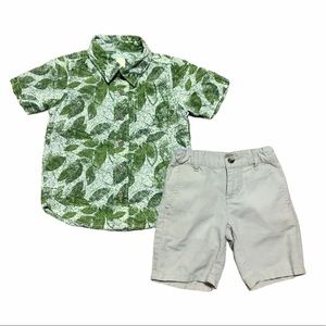Janie and Jack boys linen shorts & Hawaiian shirt